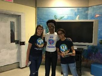 Three volunteers from the University of Central Florida's Multicultural Psychological Student Association visited Orange RJDC.