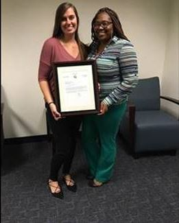 Juvenile Probation Officer Heather Hawkins and Juvenile Probation Officer Supervisor Tiffany McGriff