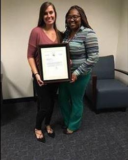 Juvenile Probation Officer Heather Hawkins and Juvenile Probation Officer Supervisor Tiffany McGriff