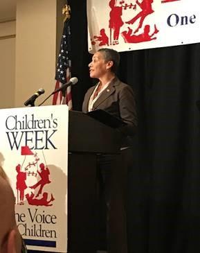 secretary speaking at childrens week