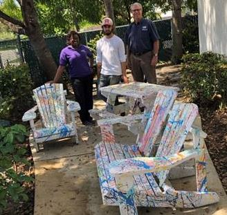 PBYA and HBI donated a set of outdoor furniture built by the students to AVDA.