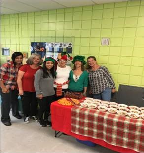 volunteers at holiday gathering
