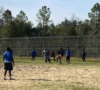 The staff at Crestview Youth Academy  joined the youth in a friendly kickball game.