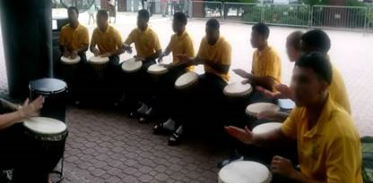 ST. Johns Youth Academy youth in drum circle