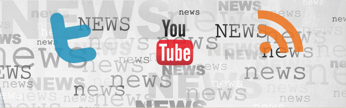 "Banner image with the Twitter, YouTube, and RSS feed logos against a backdrop of the word ""news"" written in different fonts and sizes"