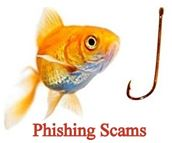 Phishing Scams graphic with fish and hook.