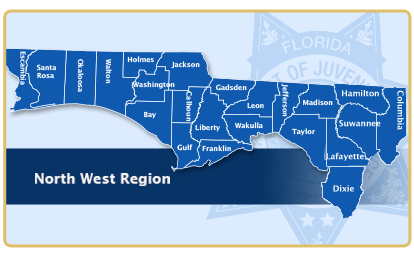 Image of the counties included in the Northwest region for Residential Facilities