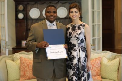 Youth Ambassador Rontarrious Hughes and First Lady DeSantis