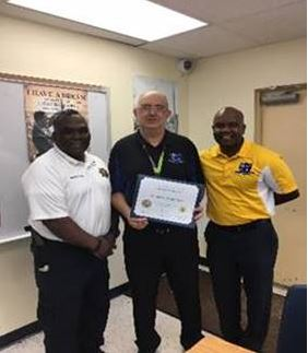 Pictured above (from left to right): Captain Reginald Allen, Mr. Sameh Abdel Nour, and Lead Teacher Dr. Christopher Smart