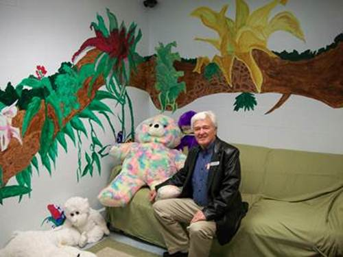 Don Browning with some of the stuffed animals