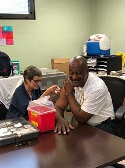 staff getting vaccine