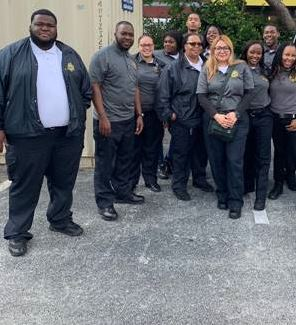 Palm Beach RJDC Shift Supervisors Demetria Brown, Twanna White, and Collin Ricketts and their staff at Waffle House