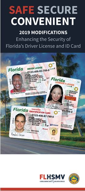 Flyer from FLHSMV regarding 2019 modifications of Florida's Driver License and ID Card.