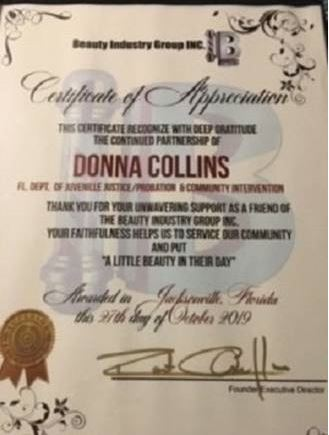 donna collins certificate of appreciation