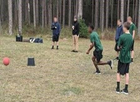 redwood youth playing kickball