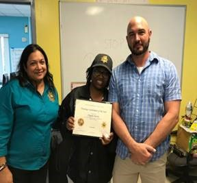 Central Region Director Monica Gray, Facility Training Coordinator Corporal Angela Harris, and Major Adrian Mathena.