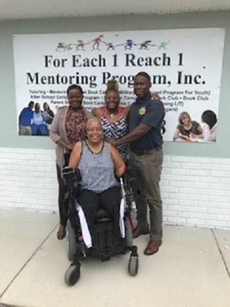Mentoring Coordinator Dawn Russ Back: Shirley Moon, Delinquency Prevention Specialist for Circuits 4, 5, and 7; Executive Director Lynette Mackey; Onazina Washington, Contract Monitor.
