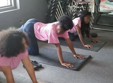 youth participating in yoga