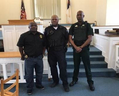 , Gretna Police Chief Brian Alexander, Gretna Police Sgt. Freeman Bishop; and Deputy Chris Daniels, Gadsden County Sheriff's Office.