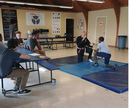 residential youth practicing ju jitsu