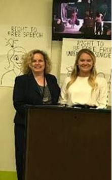 Director of Community Engagement and Special Projects Cynthia Schmidt, Esq., with the Office of the State Attorney Ninth Judicial Circuit along with her intern, Jessica Williams