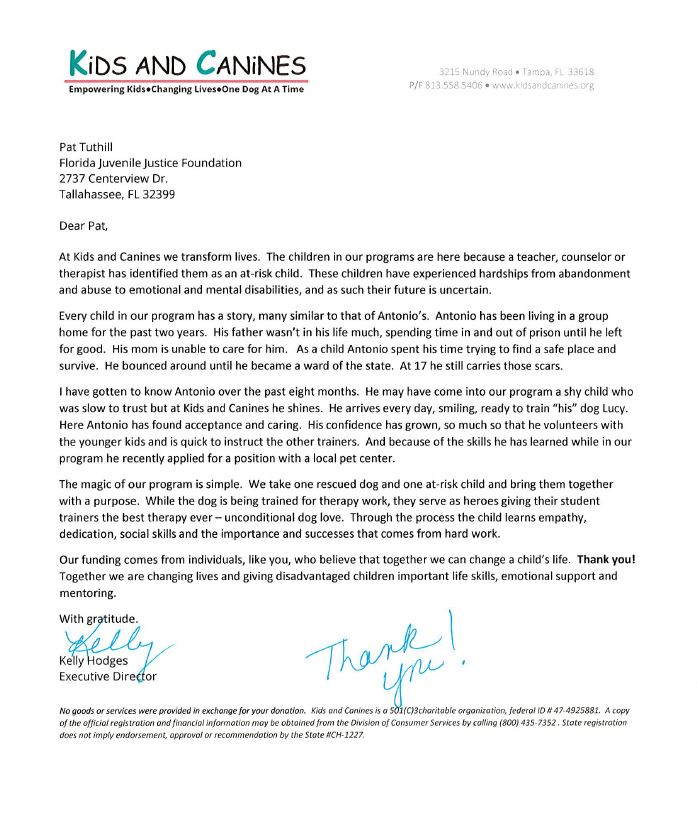 Letter from Kids and Canines to FJJF